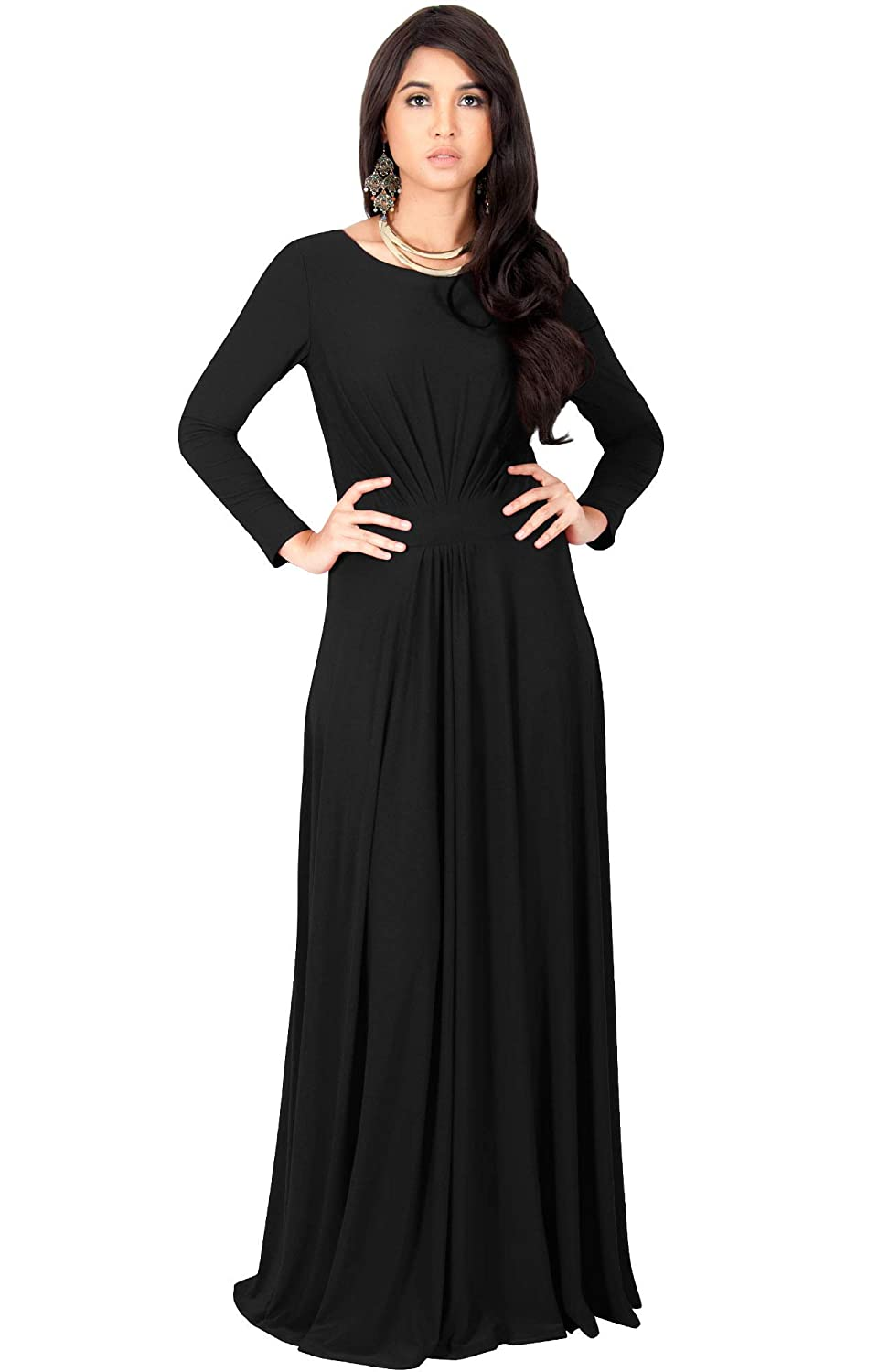 edfe27274e08 KOH KOH Sleeve Flowy Empire Waist Fall Winter Party Gown at Amazon Women's  Clothing store: Long Sleeve Maxi Dress Black
