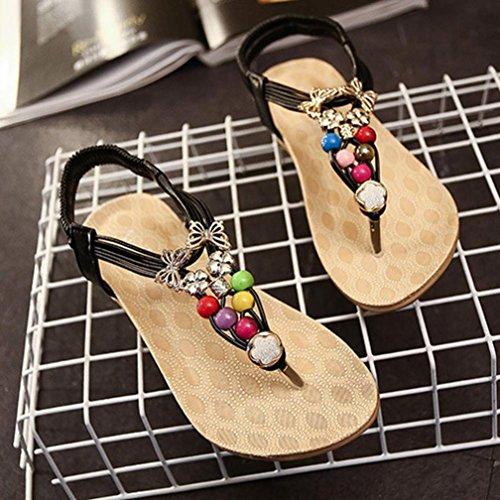 Sandali,Ouneed® Donna Sexy Girls Estate Scarpe sandali punta della clip sandali della spiaggia Dei Sandali Pantofole Boemia Fiore Tallone Scarpe Flip Flop (Nero, 37)