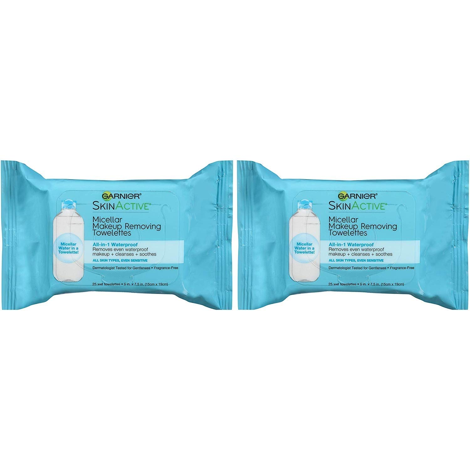 Makeup Remover Micellar Gentle Cleansing Wipes for Waterproof Makeup by Garnier SkinActive, 25 Count, 2 Pack
