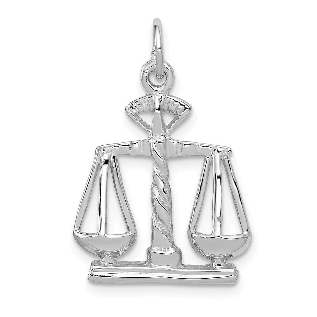 Fine Jewelry 14k Flat-backed Small Scales Of Justice Charm Pendant For Sale