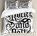 Rock Music Queen Size Duvet Cover Set by Ambesonne, Vintage Hand Lettering Rock and Roll Retro Concept Art Abstract Swirled Lines, Decorative 3 Piece Bedding Set with 2 Pillow Shams, Black Dimgrey