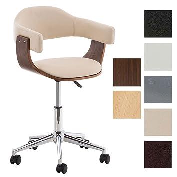 Bürosessel holz  CLP Design Bürostuhl BRÜGGE, mit Kunstleder-Bezug und Holzrahmen ...