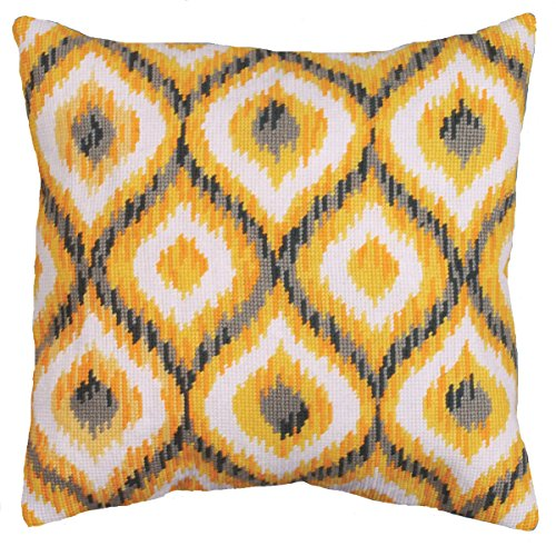 Tobin Needlepoint Kit Stitched in Yarn, 12 by 12-Inch, Yellow Ikat