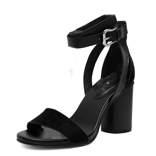 ae0394964fb920 Gaorui Fashion Women Ladies Open Toe Chunky High Heel Sandals Ankle Strap  Buckle Shoes Black