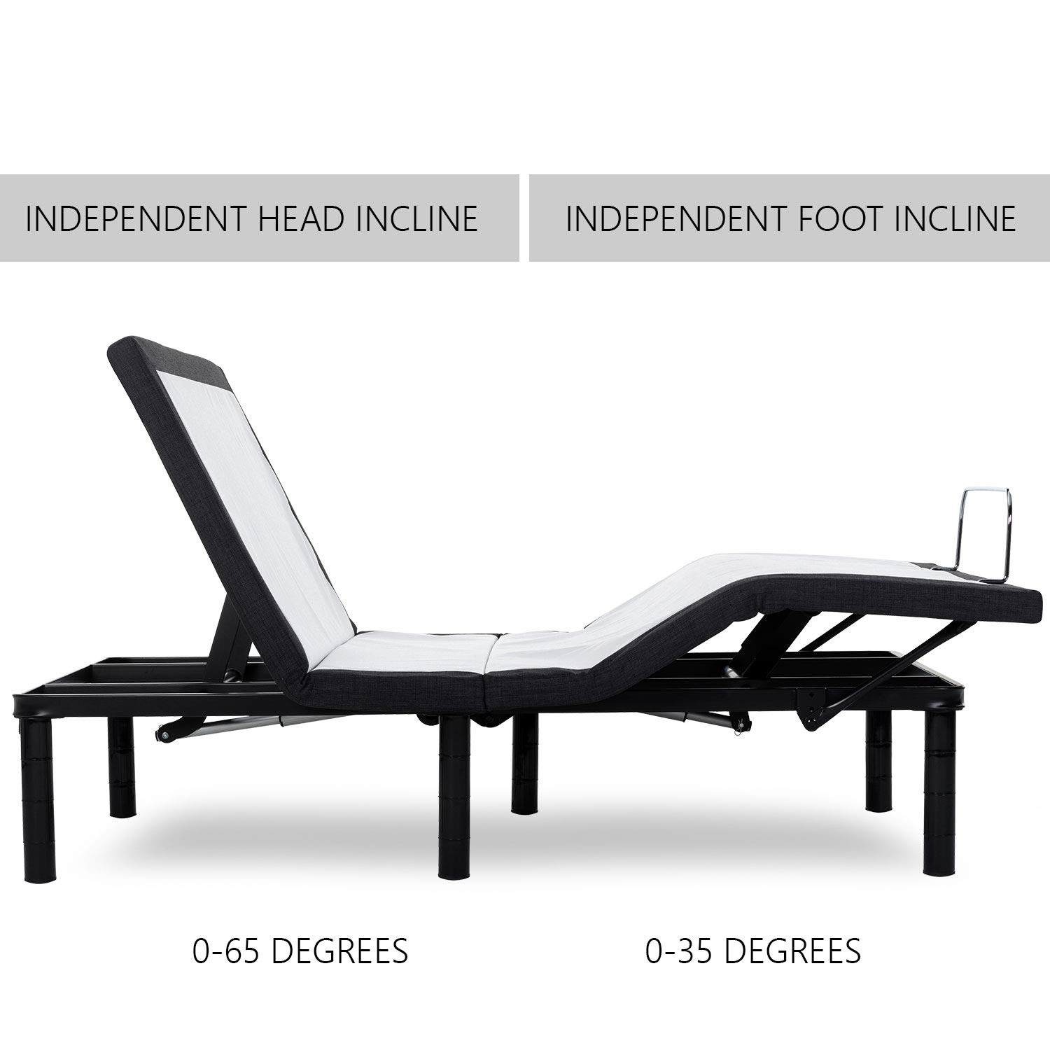 zzZenSleep Adjustable Bed Base Frame with Wireless Remote Independent Head and Foot Incline, Fast No Tools Required Assembly 10 Year Limited Warranty Twin XL