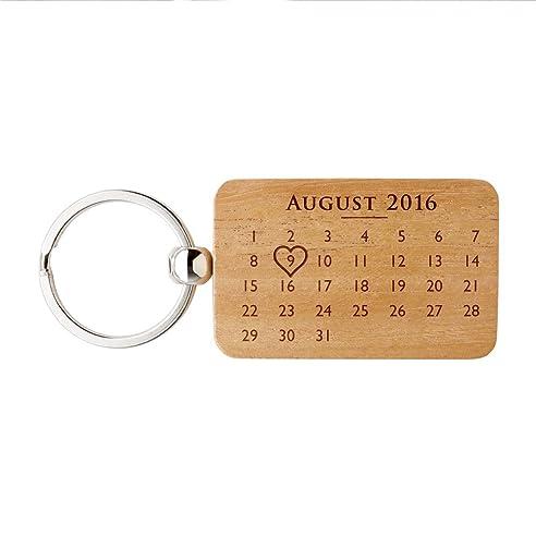 Schlüsselanhänger Rechtecking Aus Holz Mit Gravur U0026quot; Kalender U0026quot;    Personalisiertes Liebes Geschenk Zum