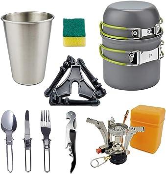 SCYDAO Camping Cookware Mess Kit 11 Pcs, Estufa y sartén para ...