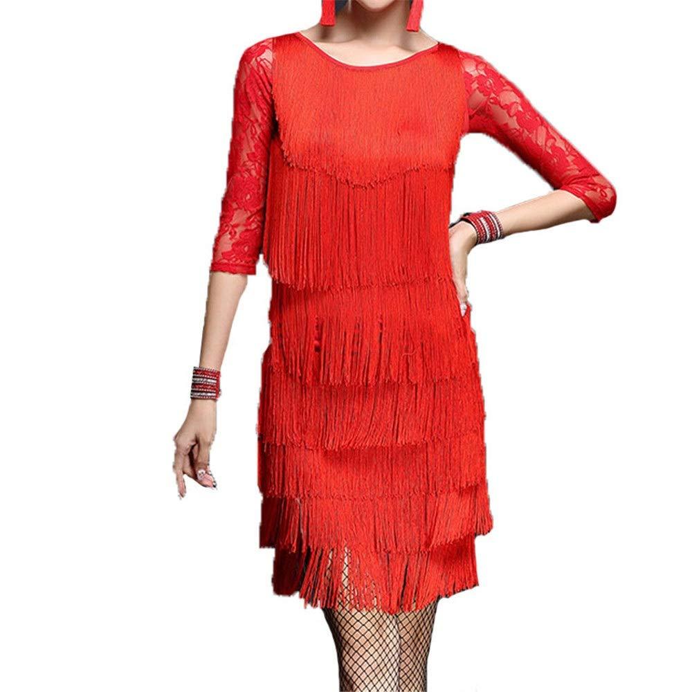 Rouge X-grand Robe de soirée de danse pour femmes Femmes glands robe de danse latine tenue demi-hommeche florale dentelle splice débardeur avec jupe de danse danse salle de bal concours de costumes de perforhommece élé