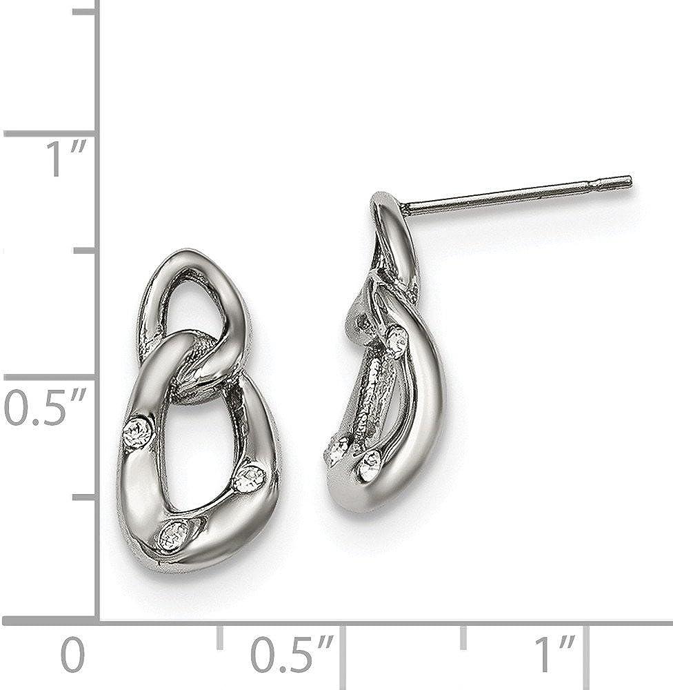 Stainless Steel Polished Two Loop 3 Crystal Dangle Earrings