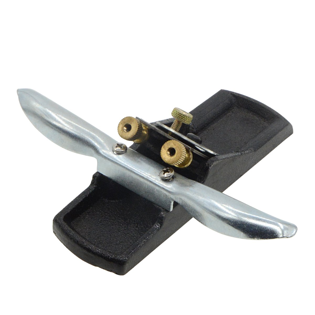 Saim DIY Metal Woodworking Handed Plane Tools Adjustable Woodwork Spokeshave Base Heavy Duty Flat Manual Planer for Wood Craft, Wood Craver, 38mm Cutter Width,184mm Handgrip Length, Silver and Black by Saim (Image #3)