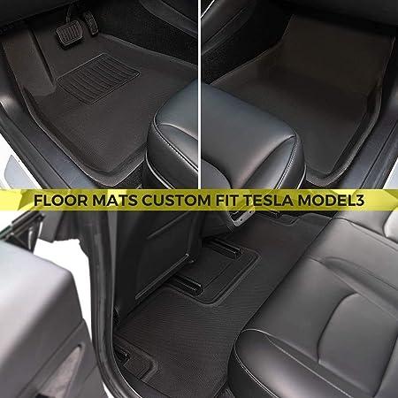 3PCS TeddyTT Floor Mats Compatible with Tesla Model 3 2017 2018 2019 Heavy Duty Rubber Front/&Rear Car Carpet Waterproof Custom Seasons Odorless All Weather 3D high Edge Anti-Stain