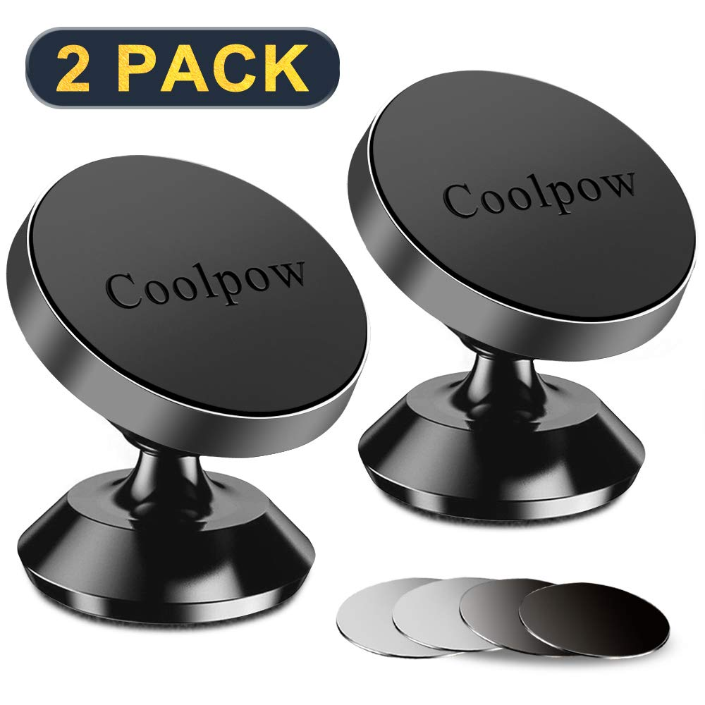 [ 2 Pack ] Phone Magnet car Mount, [ Super Strong Magnets ] [ with 4 Metal Plate ] Phone Holder for car, [ 360° Rotation ] Universal Magnetic Mount for iPhone X / 8/7 / 6, Samsung LG Moto and More