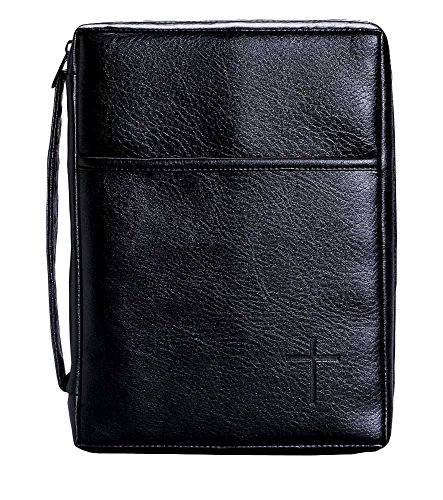 Leather Look Bible Cover (Soft Black Embossed Cross with Front Pocket Small Leather Look Bible Cover with Handle)