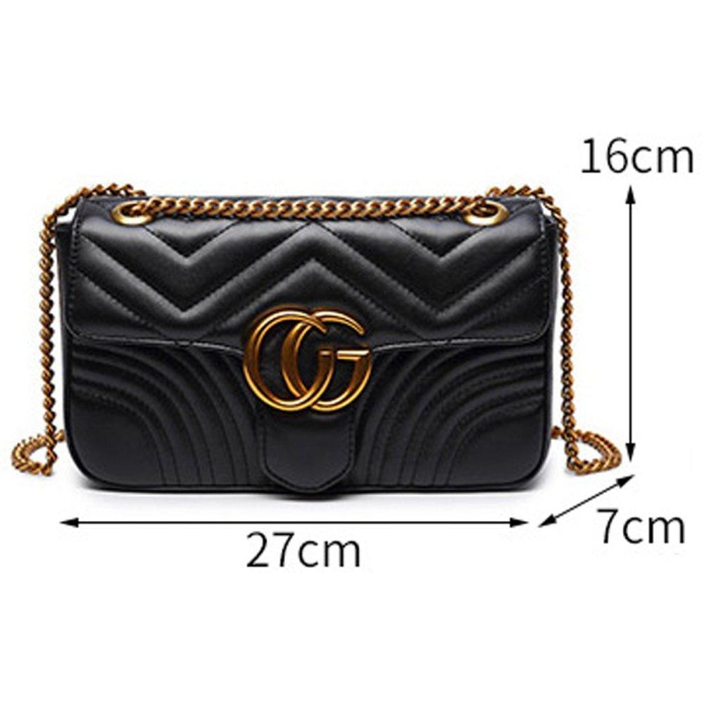 Kleine Quadratische Tasche Der Frauenkette Flanell-PU-Rauten-Kettenumh/ängetasche Kuriertasche Handtasche Kupplung