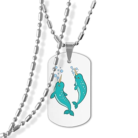 Amazon Com Cute Narwhal Couple Dog Tag Necklace Military Pendant