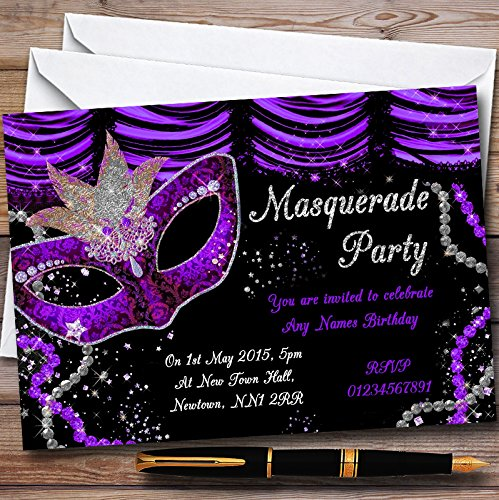 Purple & Black Mask Masquerade Ball Personalized Party