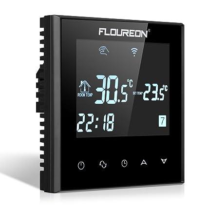 FLOUREON Termostato de Calefacción Eléctrica con Wi-Fi Programable Semanal para Regulación de Temperatura,