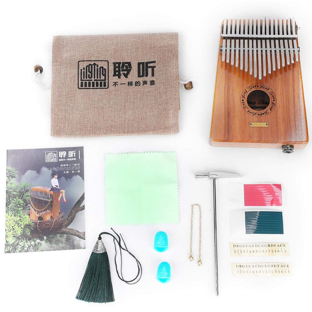 Kalimba, 17 Keys Wood Thumb Piano with Tuning Hammer and Study Instruction and More(Electric Box)