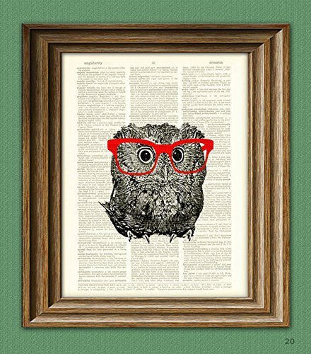 - Owl Smarty Pants nerdy young owl with red glasses illustration beautifully upcycled dictionary page book art print