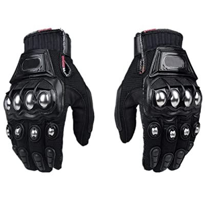 Steel Outdoor Reinforced Brass Knuckle Motorcycle Motorbike Powersports Racing Textile Safety Gloves … (X-Large, Black): Automotive