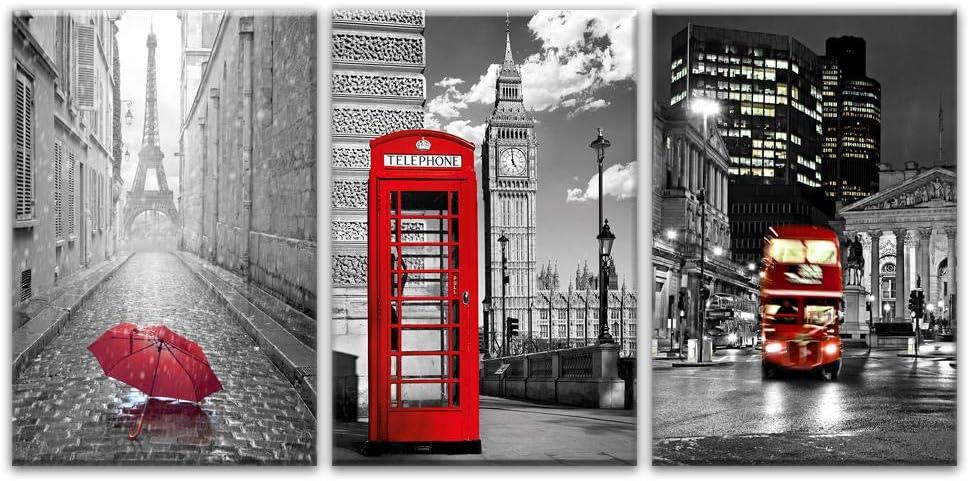 París, negro, blanco, torre Eiffel, rojo, sombrillas, lienzo, arte moderno de pared, cuadros, 3 piezas, pinturas, carteles, decoración para el hogar, sin marco, 50cmx70cmx3psc