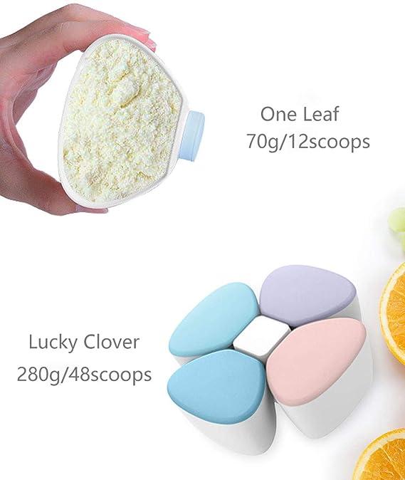 Trébol de la suerte Dispensador de leche en polvo Desmontable Combo Paquete Bebé Fórmula Bocadillo Comida Almacenamiento Envase - Azul: Amazon.es: Bebé