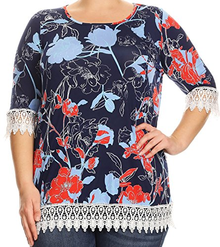 BNY Corner Women Plus Size Crochet Lace Trim Long Casual Tunic Top Dress USA Navy Red 2XL (592 FLO)