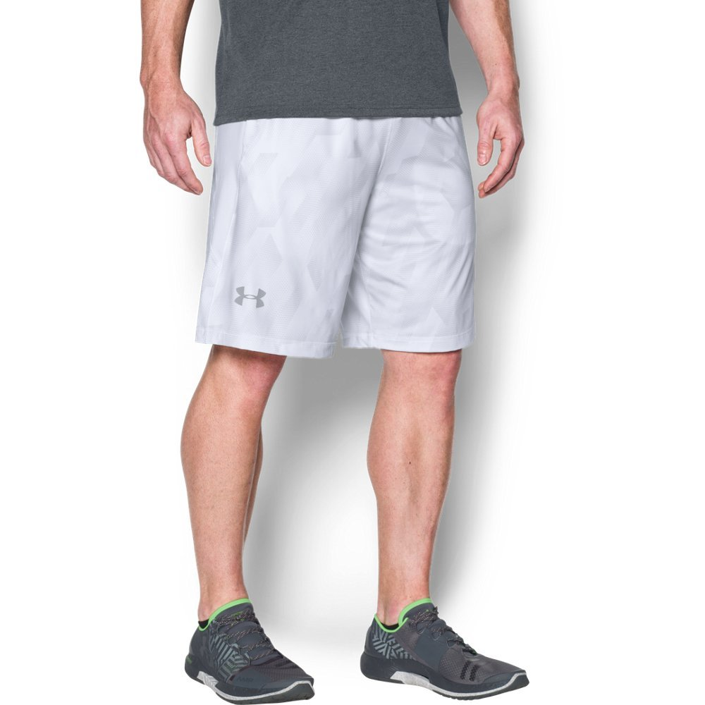 Under Armour Men's Raid Printed 10'' Shorts, White (106)/Overcast Gray, Medium by Under Armour
