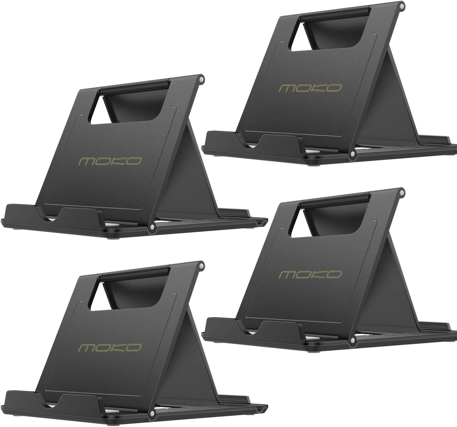//Air 3//Air 4 10.9//Mini 5 2 Pack Phone//Tablet Stand, Foldable Desktop Holder for 4-11 Devices, Fit iPhone 11 Pro Max//11// Xs Max//SE, iPad Pro 11//10.2 8th Gen MoKo Galaxy S20 Black