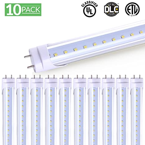 10 pack t8 led tube light 4ft 48 18w 6000k bright white 2 000 rh amazon com