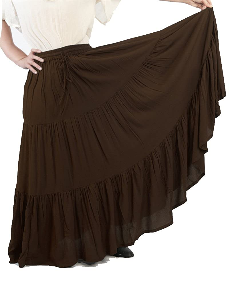 Women's Romantic Renaissance 3-Tier Brown Ruffled Peasant Skirt - DeluxeAdultCostumes.com