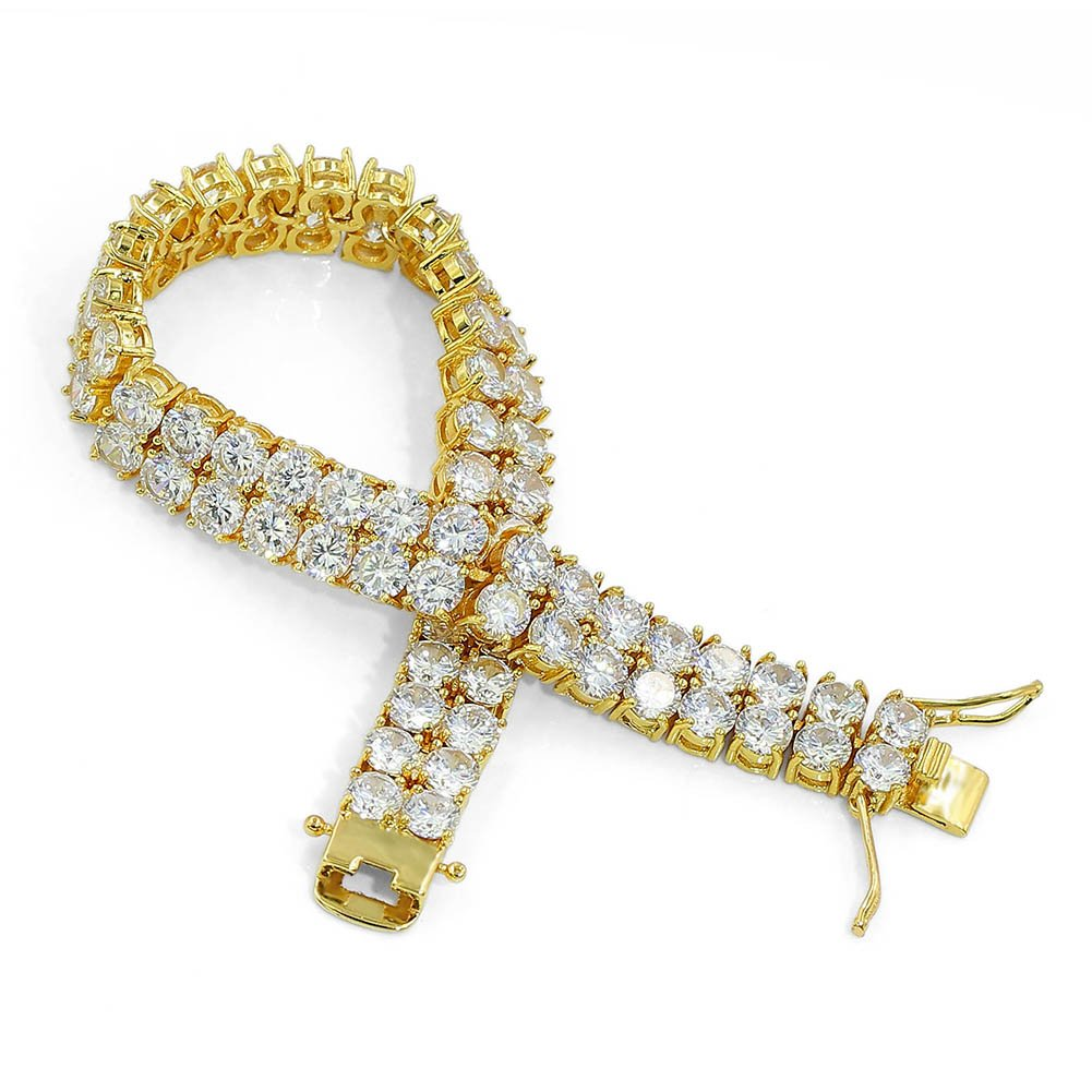"""JINAO 2 Rows AAA Gold Silver Iced Out Tennis Bling Lab Simulated Diamond Bracelet 8"""" (7'' Gold) by Jin'ao (Image #2)"""