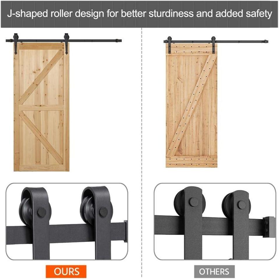 Renewed Yaheetech 6 Ft Barn Door Hardware Sliding Garage Closet Cabinet Door Hardware Track Rail Rollers System Kit Set Indoor//Outdoor Black