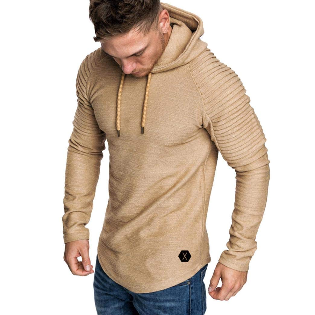 YunYoud Fashion Herren Herbst Winter Falten Slim Fit Raglan Langarm Hoodie Top Bluse Kapuzenshirt Herren Kapuzenpullover günstig Pullover weiß Rollkragenpullover weißer