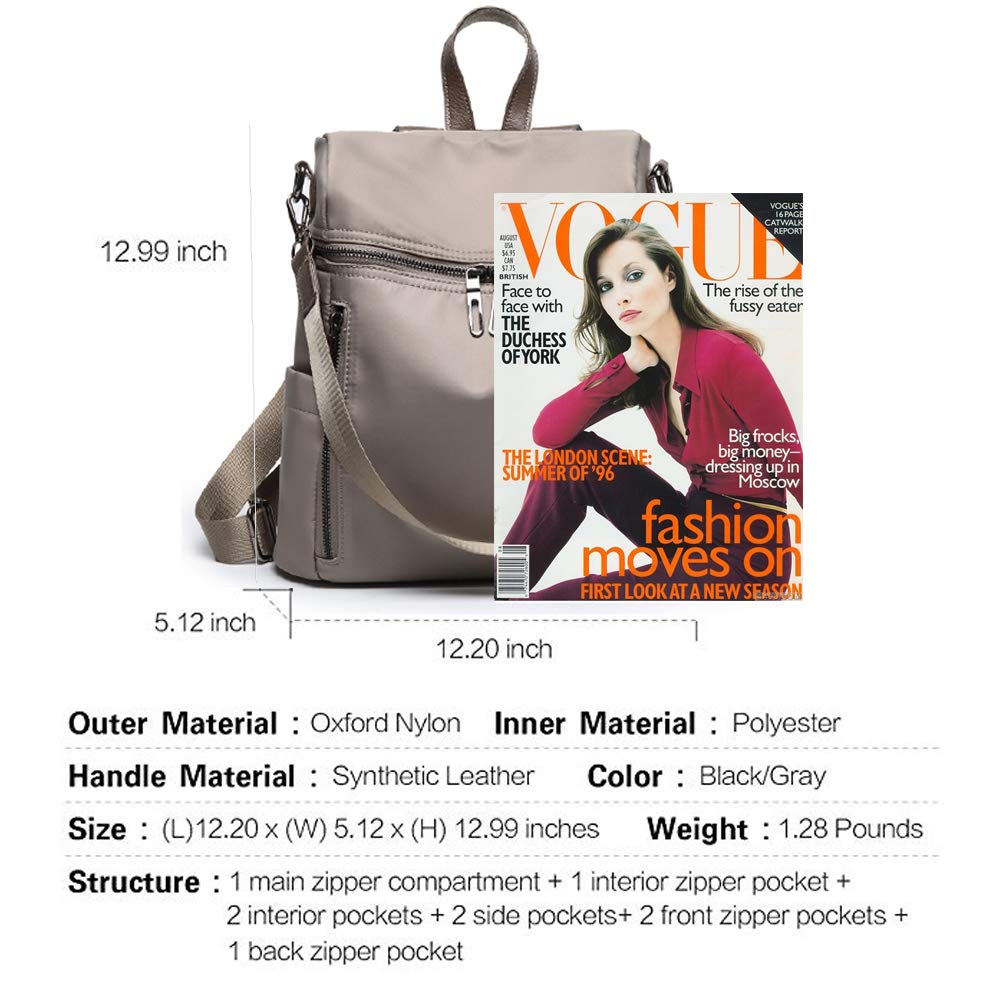 Women Backpack Purse Lightweight Fashion Canvas Ladies Handbag School Shoulder Bag Waterproof Travel Rucksack (gray) by XMeng (Image #3)