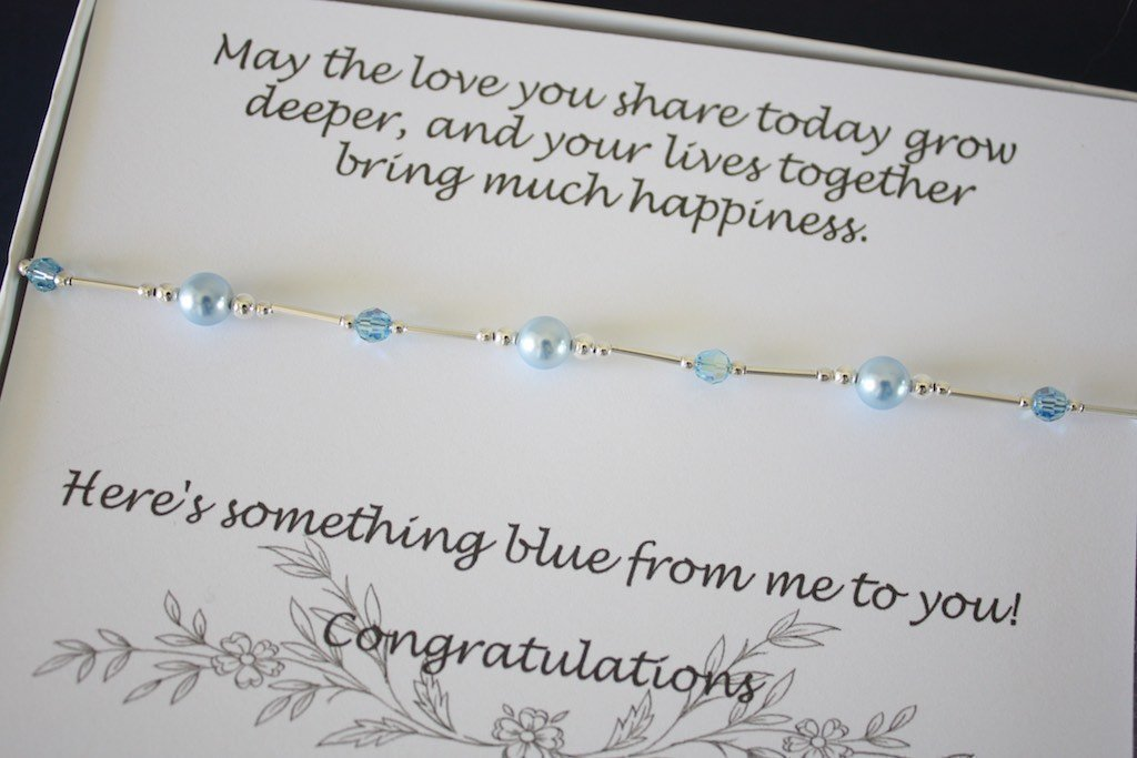 Something Blue Bride Gift Anklet, Sterling Silver and Blue Swarovski Pearl and Crystal Anklet, Wedding