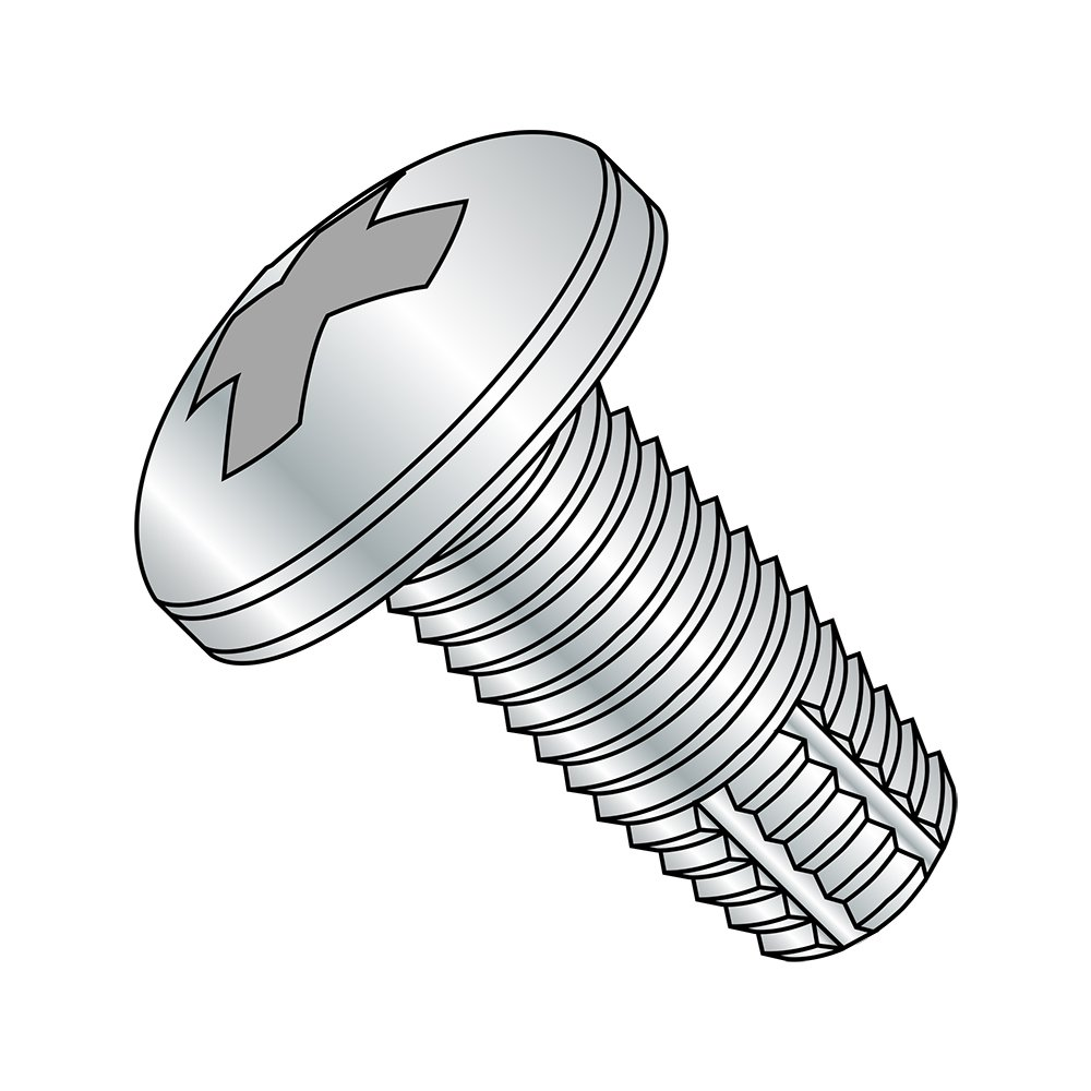 Steel Thread Cutting Screw Zinc Plated Finish #4-40 Thread Size Phillips Drive 3//16 Length Pack of 100 Type F Pan Head