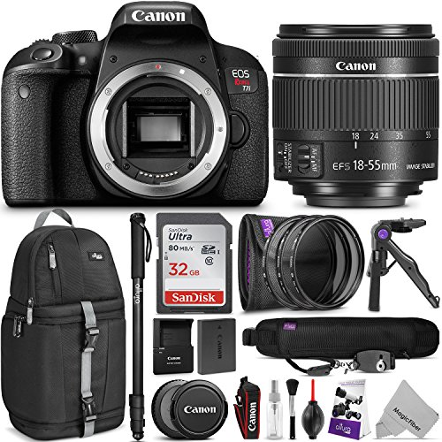 Canon EOS Rebel T7i DSLR Camera with 18-55mm Lens w/ Advanced Photo and Travel Bundle by Canon