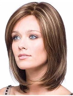 falamka elegante marrón mitad de longitud color mezclado pelo natural Recto Corto Mujeres Bob peluca