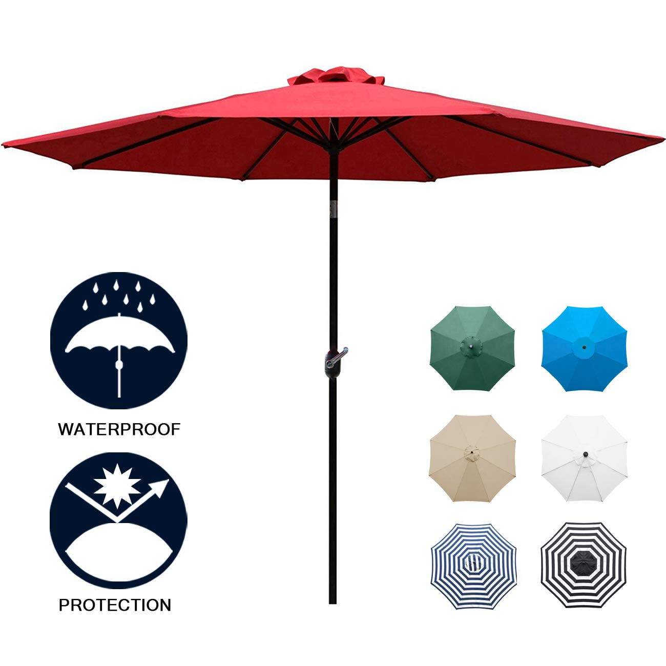 Sunnyglade 9' Patio Umbrella Outdoor Table Umbrella with 8 Sturdy Ribs (Red) by Sunnyglade