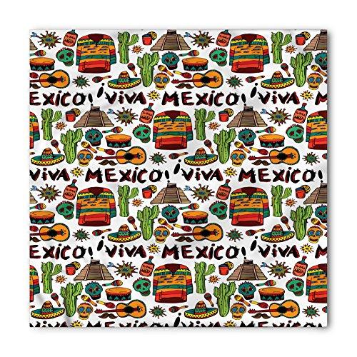 - Ambesonne Unisex Bandana, Mexican Cartoon Cactus Salsa, Orange Brown