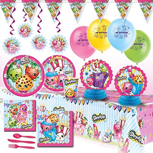 Deluxe Shopkins Girls Birthday Complete Party Pack Decoration Kit For 16