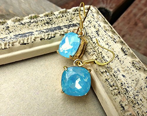 Turquoise mint green square crystal and gold earrings. Small earrings.Handmade jewelry, jewellery. Fashion, (Gold Electroplated Mens Ring)