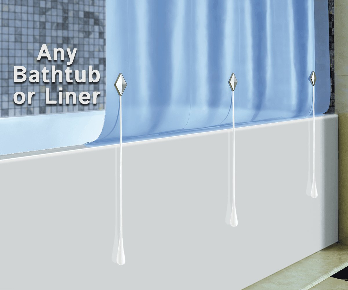 Clingless Curtain Keeper, Round White, Stop Shower Curtain Liner ...
