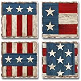 The Painted Flag Square Assorted Tumbled Stone Coaster Set of 4, Highland Graphics