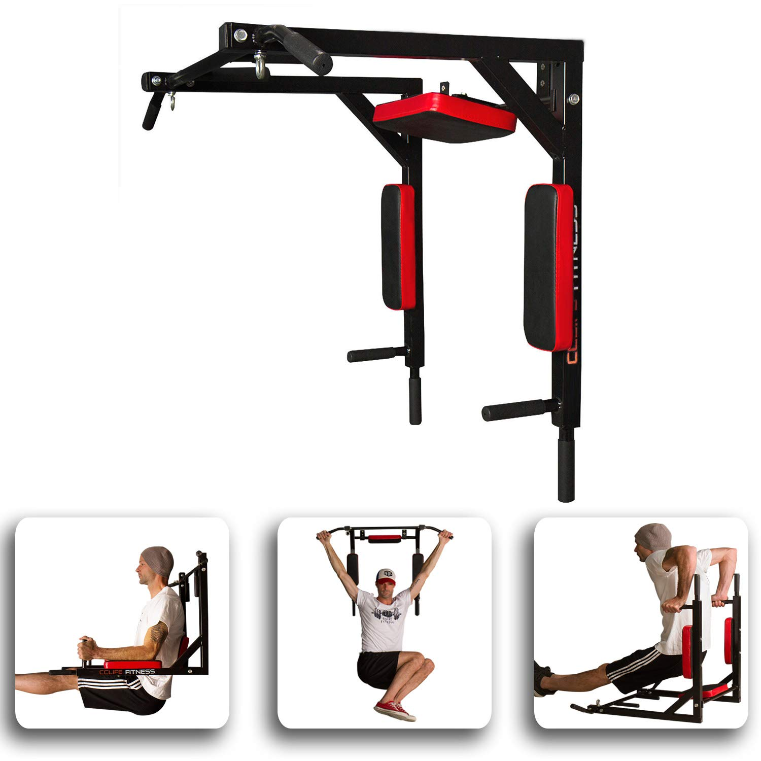 CCLIFE Barre de Traction - Barre de Traction Murale - Chaise Romaine Murale - Barre Traction Barre dips - Barres de Traction Crossfit product image