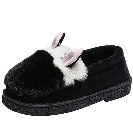 ZHRUI Orejas de Conejo Lindo para Mujer con diseño de Mocasines de Piel sin Cordones (