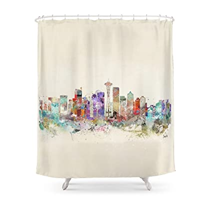 Society6 Seattle City Skyline Shower Curtain 71quot