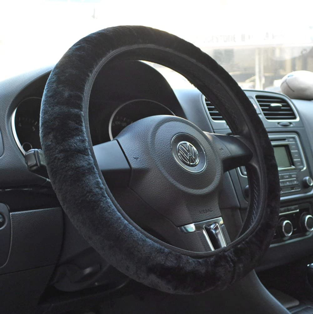 Tianmei Soft Faux Wool Winter Car Stretch-On Steering Wheel Cover Diameter 13.7in-15.7in,Plush Black