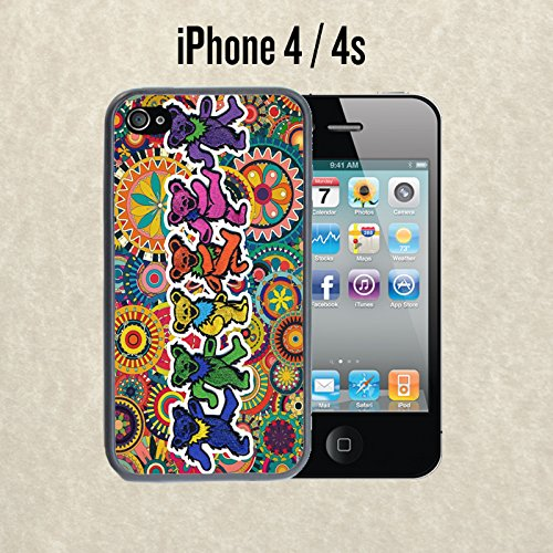 iPhone Case Grateful Dead and Dancing Bears for iPhone 4 / 4s Rubber Black (Ships from CA)